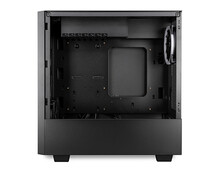 Black Open Empty Midi Tower Pc Computer Case Side View Isolated White Background. Gaming Component Technology Electronics Concept.