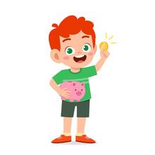 Cute Little Kid Boy Carry Piggy Bank And Golden Coin