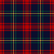 Tartan Plaid Pattern In Red, Green, Blue, Yellow. Herringbone Textured Multicolored Seamless Checked Background For Christmas Flannel Shirt, Tablecloth, Or Other Modern Winter Holiday Textile Print.