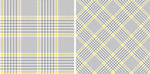 Glen Pattern Set In Grey, Yellow, White. Tweed Fabric Plaid Texture For Jacket, Coat, Skirt, Or Other Modern Spring Summer Fashion Textile Print.