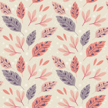 Colorful Background With Branches And Leaves, Vector Seamless Pattern