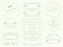 シンプルな飾り線のフレーム枠 緑