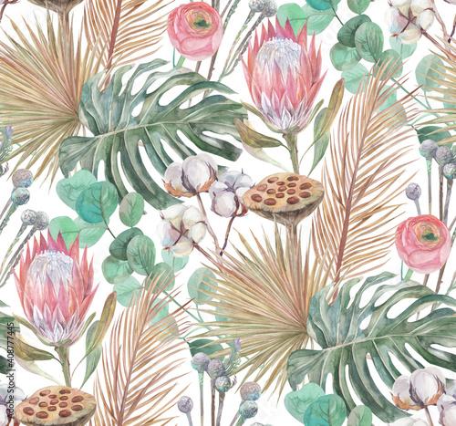 Tapety Boho   nowoczesny-wzor-w-stylu-boho-tropikalne-suszone-kwiaty-i-kwiat-proteus-malowane-akwarela-z-galazkami-bawelny-turkusowym-tlem