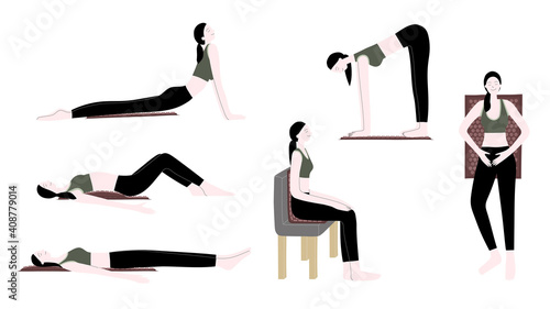 Obraz Vector flat hand drawn illustration set with women use an applicator massage mat for home self-massage, exercise, stretching and muscle relaxation. Acupressure, acupuncture, healthy body - fototapety do salonu