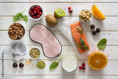 Fotomural Selection of food for better sleep insomnia rich in tryptophan and melatonin, co