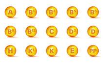 Set Of Multi Vitamin Complex Icons. Multivitamin Supplement. Vitamin A, B Group B1, B2, B3, B5, B6, B9, B12, C, D, D3, E, K, H, K1, PP. Essential Vitamin Complex. Healthy Life Concept