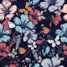 Fashion Vector Pattern With Flowers Ad Butterflies In Vintage Style