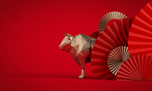 Chinese New Year Of The Ox Background. Red And Gold Decorations. 3D Rendering