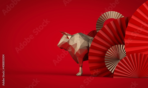 Fotografie, Tablou Chinese new year of the Ox background