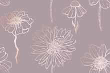 Chrysanthemum, Dahlia, Echinacea And Other Flowers. Seamless Floral Pattern. Line Art With Glossy Gradient Effect. Art Illustration With Pastel Gold Rose Pink Color