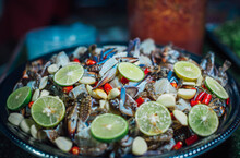 Fresh Blue Crab Salad For Sale On Walking Street, Chiang Khan District, Thailand.