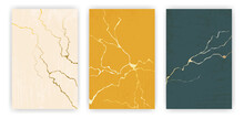 Golden Cracks Of Kintsugi On Trendy Colors Backgrounds.
