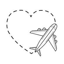 Airplane And Dotted Heart Vector Image On White Background. Traveling By Plane. Love To Travel Graphic Picture. Linear Image Of An Airplane. Sketch For Tattoo Or Print.