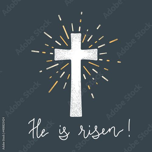 Fototapeta Religion cross with text He is risen vector illustration obraz