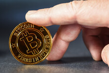 Finances Argent Bitcoin Piece Jeton Valeur Echange Cryptomonnaie