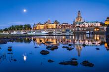 Dresden Skyline At Night, Saxony, Germany