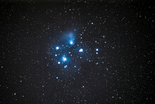 The Pleiades Open Cluster And Nebulae And Amazing Place On The Universe. Maybe The Most Awesome Object In The Northern Night Skies. With The Amazing Blue Nebula Surrounding The New Stars