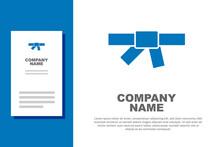 Blue Black Karate Belt Icon Isolated On White Background. Logo Design Template Element. Vector.