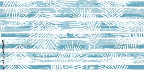 Fototapeta Tropical pattern, palm leaves seamless vector floral background