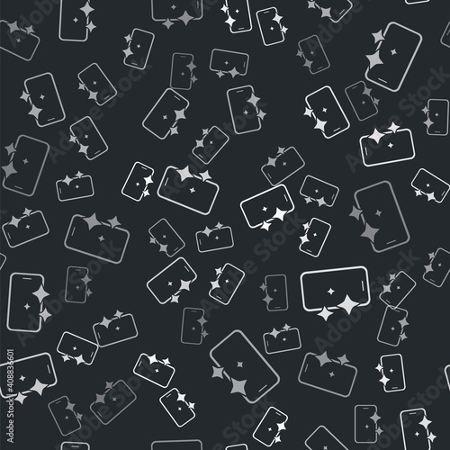 Fotografija Grey Glass screen protector for smartphone icon isolated seamless pattern on black background