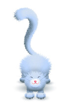 Vector Cartoon 3d Stretching Furry Blue Cat With Big Tail.