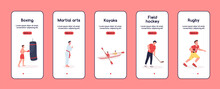 Characters In Sport Onboarding Mobile App Screen Flat Vector Template. Favourite Hobbies. Walkthrough Website Steps With Characters. UX, UI, GUI Smartphone Cartoon Interface, Case Prints Set