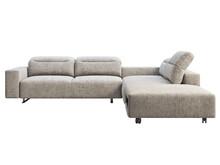 Modern Light Gray Fabric Corner Sofa With Adjustable Backrest And Storage. 3d Render