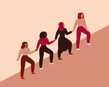 Women Can Do It. Four Female Characters Walk Up Together And Hold Arms. Girls Support Each Other. Friendship Poster, The Union Of Feminists And Sisterhood. Vector Illustration