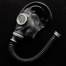 Vintage Black Russian Gas Mask GP5 On Black Background