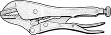 Hand Drawing Of A Pair Of Locking Pliers.