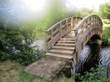 Pont Romantique En Bois  Sur Un Cours D'eau Calme Aux Rives Verdoyantes. Lumière Floutée En Arrière-plan. Saint -Sauves-d'Auvergne, Puy-de-Dôme, France. Août 2021