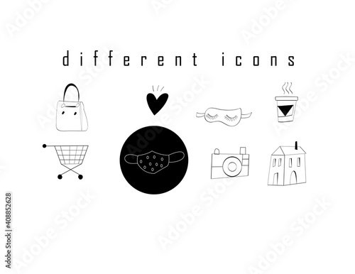 Vector icons set of different elements isolated on a white background. Icon design for website design and social networks © tanor27