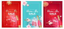 Valentine's Day Sale Holiday Gift Card Background Realistic Design Sey. Template For Advertising, Web, Social Media And Fashion Ads.  Poster, Flyer, Greeting Card, Header For Website  Vector