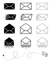 Big Set Of Closed Envelope, Open Envelope And Fast Moving Modern Mail Symbol. Envelope Sign. Vector Drawing. Email Symbol. Letter Icon Set. Email Notification. Contact Form. Modern Line Art Design.