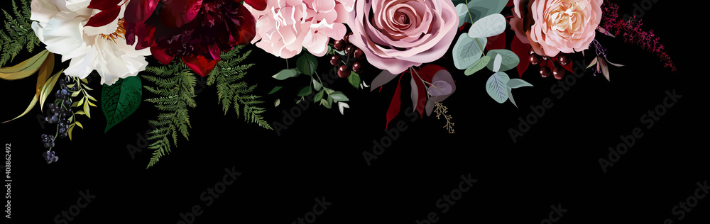 Elegant dark banner, arranged leaves and flowers
