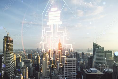 Cuadros en Lienzo Double exposure of virtual creative light bulb hologram with chip on New York ci