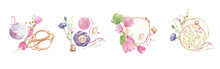 Embroidery Kit. Hand-drawn Watercolor Hoops, Vintage Scissors, Pins, Needles, Thimbles, Pincushion, Spools Of Thread, Floss. Handicraft Illustrations.