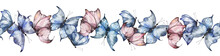 Seamless Border With Watercolor Butterflies In Blue And Pink On A White Background, Summer Bright Butterflies. Summer Illustration For Postcards, Posters, Packaging