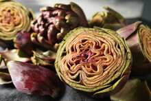 Fresh Peeled Artichokes Close Up. Vegan Vegetarian Food. Organic Seasonal Vegetables. Artichoke Recipe. Selective Focus