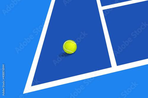 Photo Blue tennis hard court with ball, vector illustration