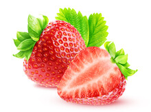 Ripe Strawberry And Half Of Strawberry With Leaf Isolated On White Background With Clipping Path.