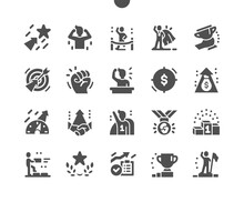 Motivation. Way To Success. Winner, Trophies, Reward And Target. Career Growth. Achieve Success. Business Training. Revenue Increase. Vector Solid Icons. Simple Pictogram