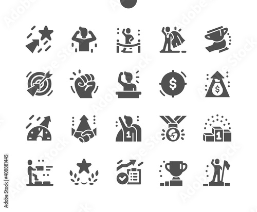 Obraz Motivation. Way to success. Winner, trophies, reward and target. Career growth. Achieve success. Business training. Revenue increase. Vector Solid Icons. Simple Pictogram - fototapety do salonu