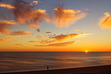 Hove Beach At Sunset, West Sussex, UK