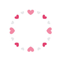 Heart Circle Logo, Heart Logo, Round Hearts, Heart Border Vector Illustration Background, Valentine's Day Border