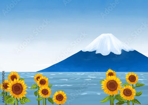 Fotografija ひまわり畑から見える富士山と海 夏