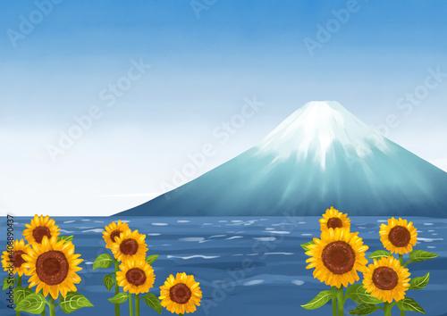 Slika na platnu ひまわり畑から見える富士山と海 夏