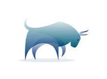 Vector Bull In Gradient Style. Digital Art