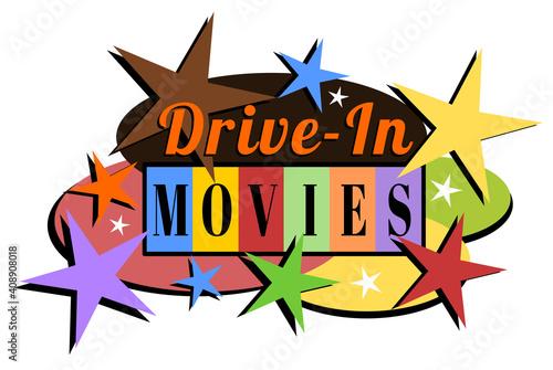 Retro mid-century modern drive-in movies label #408908018