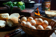 Farm Eggs With Wood Stove In The Background